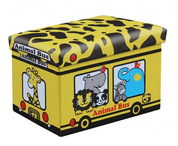 """Faltbare Aufbewahrungsbox mit Deckel /Sitzfläche """"Animal Bus"""""""