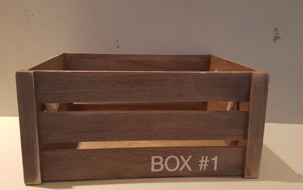 Holzkisten-Dekokisten Box # grau mit Seil