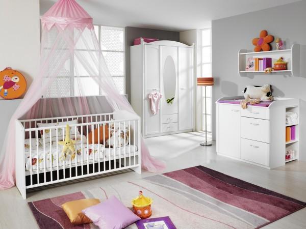 Babyzimmer mit Babybett 70x140cm Alpinweiß 7tlg.