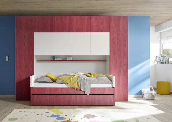 Funktionsbett mit Bettbrücke weiß Melamin/ Holzstruktur rot