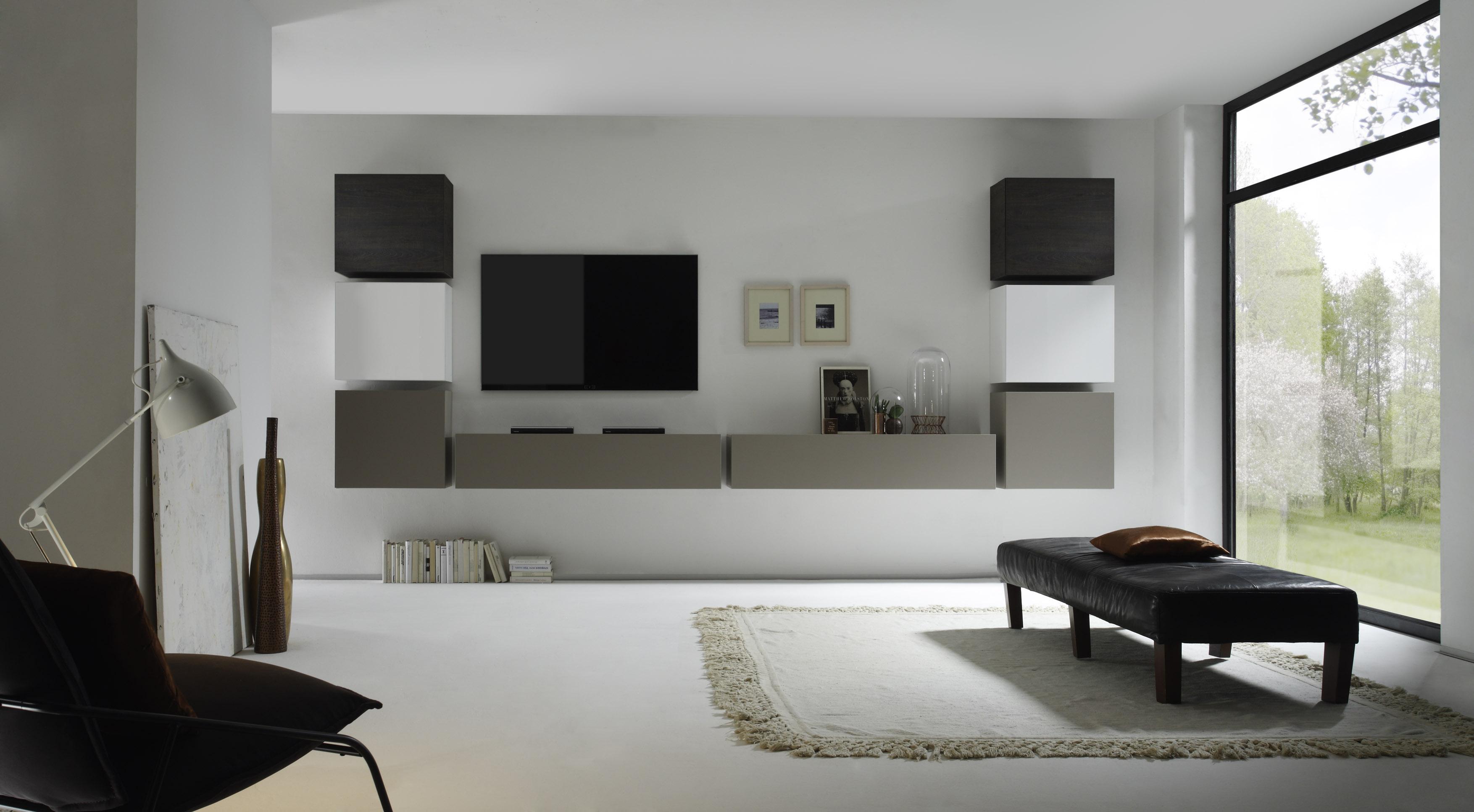 Designer wohnwand weiß hochglanz  Wohnwand 8tlg. beige matt/ weiß Lack / Eiche Wenge | Lebe dein ...