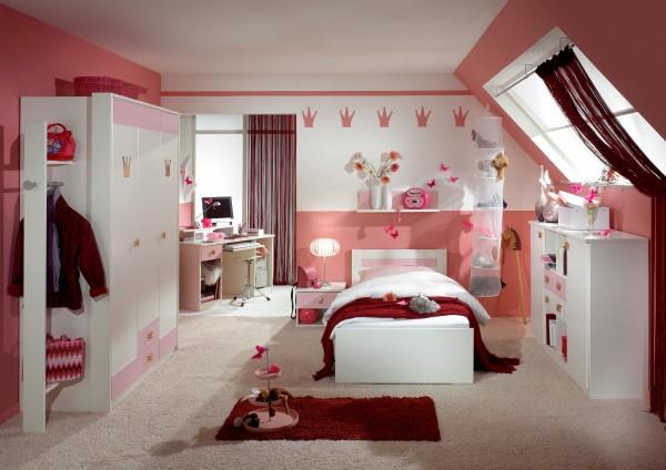 Mädchen-Kinderzimmer Prinzessin 4tlg. weiß/ rosé