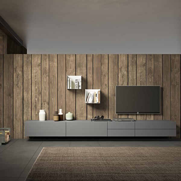 Morassutti LIVE Wohnwand 330cm grau matt/ mit Ladestadion