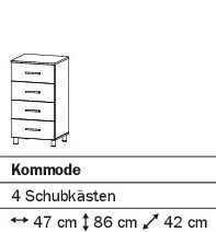 Kommode mit 4SK 47cm alpinweiß oder weiß HG