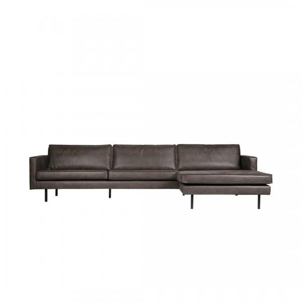 Sofa 3-Sitzer Eco Leder schwarz Chaiselongue rechts von De Eekhoorn