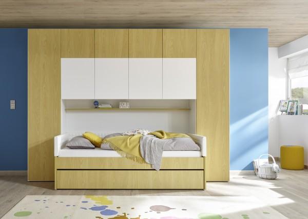 Funktionsbett mit Bettbrücke weiß Melamin/ Holzstruktur gelb