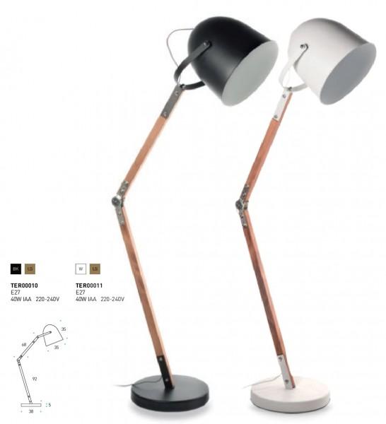 Stehlampe 35cm verstellbares Holzgestell/ Metallschirm