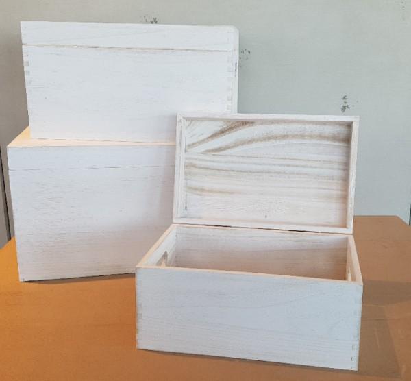 Holztruhe-Dekokisten-Holzbox weiß shabby chic in versch. Größen