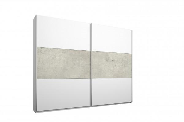 Schwebetürenschrank 218cm alpinweiß oder grau-Beton Optik