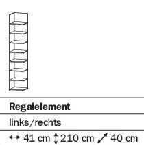 Abschlußregal 41cm alpinweiß