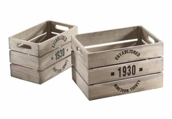 Holzkisten-Dekokisten 1930 grey washed