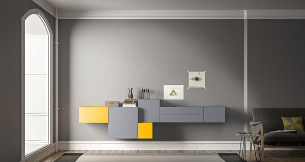Morassutti LIVE Wohnwand Würfel grau/ gelb