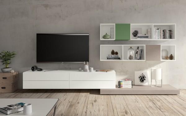 Morassutti LIVE Wohnwand 300cm weiß matt/ grau/ lindgrün