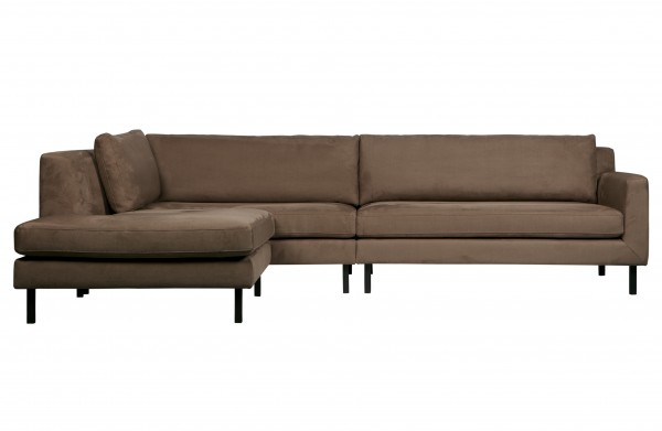 Eckcouch Wildleder Optik Taupe Lounge links
