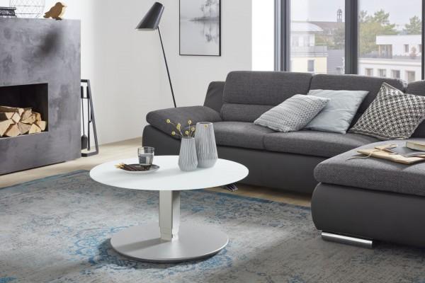 Couch-Beistelltisch 80cm höhenverstellbar Glas weiß matt