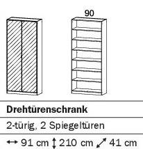 Drehtürenschrank 91cm mit Spiegeltüren alpinweiß