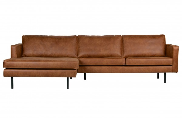 Sofa 3-Sitzer Eco Leder Cognac Chaiselongue links