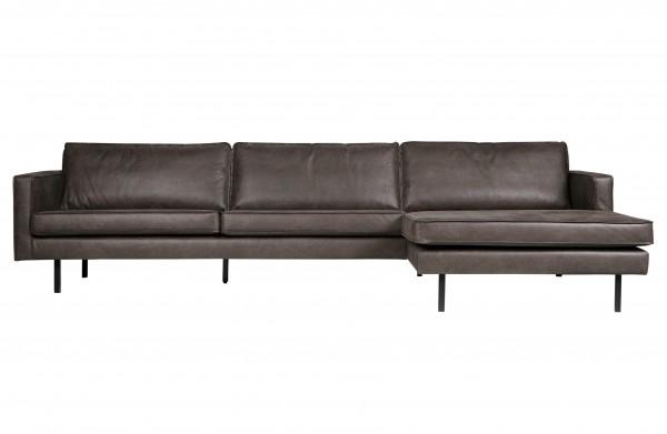Sofa 3-Sitzer Eco Leder schwarz Chaiselongue rechts
