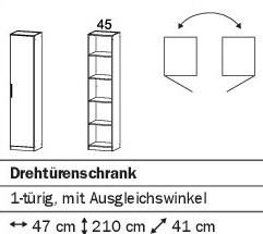 Ecklösung Drehtürenschrank 47cm alpinweiß oder weiß HG