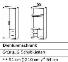 Drehtürenschrank 91cm mit 2SK alpinweiß oder weiß HG verschiedene Varianten