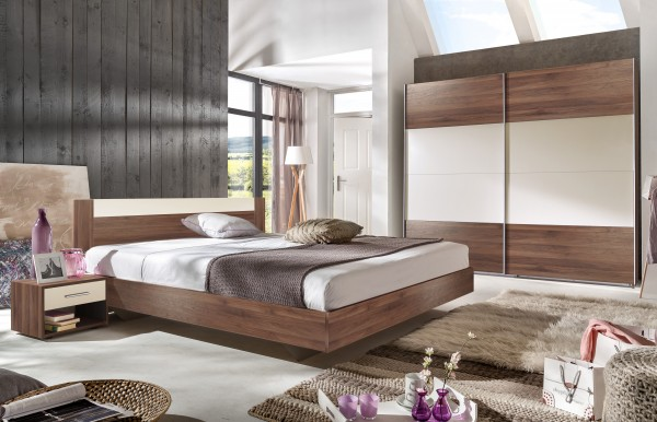 Schlafzimmer mit Bett 180x200cm 4-teilig Columbia Nussbaum/ Prosecco