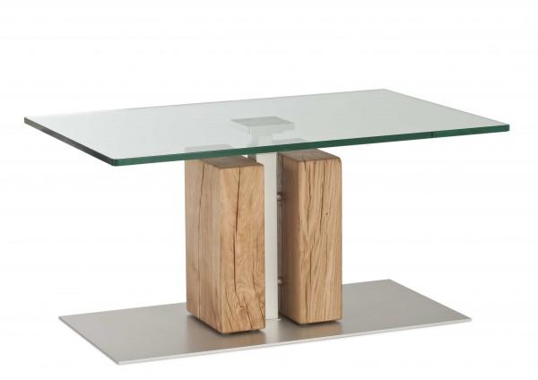 Couchtisch 90x60cm höhenverstellbar Glas/ Wildeiche geölt