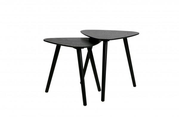Beistelltisch 2er Set aus Holz schwarz