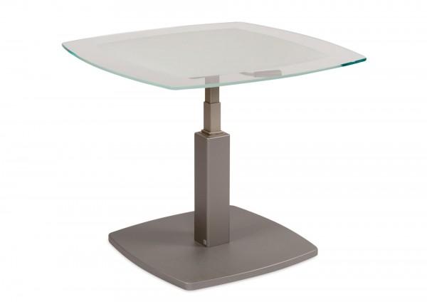 Couchtisch 80x80cm Höhenverstellbar Glas Weiß Mattlavagrau Lebe