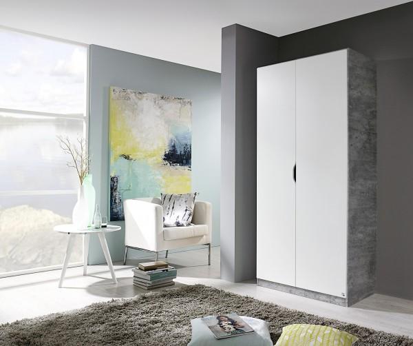 Drehtürenschrank 91cm alpinweiß/ stone grey