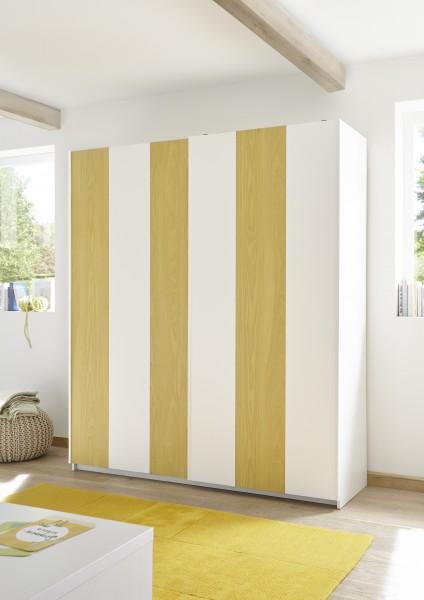 LC Spa Enjoy Schwebetürenschrank 243cm weiß Melamin geriffelt/ weiß Lack matt/ gelb
