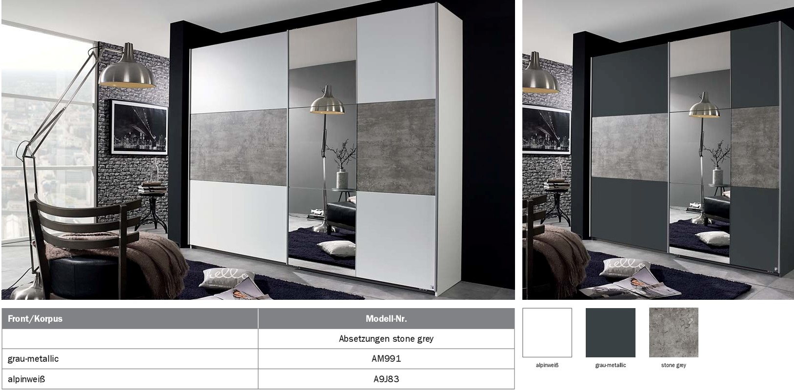 schwebet renschrank prenzlau 261cm alpinwei stone grey ebay. Black Bedroom Furniture Sets. Home Design Ideas