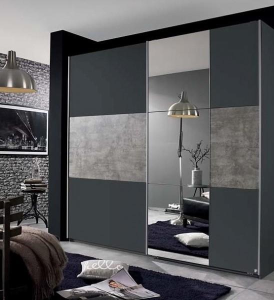 Schwebetürenschrank 175cm grau metallic/stone grey