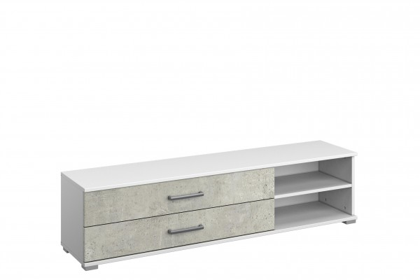 TV Lowboard 149cm alpinweiß oder grau metallic/ Beton Optik