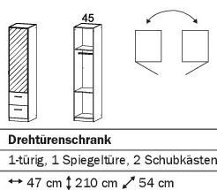 Drehtürenschrank 47cm mit 2SK/Spiegeltür/ alpinweiß oder weiß HG