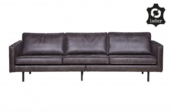 Sofa Rodeo, Leder, Schwarz, 3-Sitzer Couch