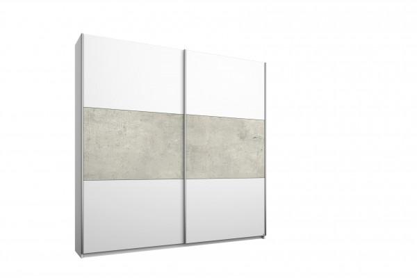 Schwebetürenschrank 175cm alpinweiß oder grau- Beton Optik