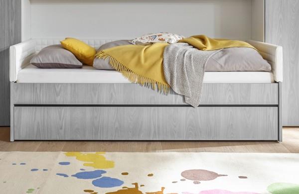 Einzelbett mit Bettkasten Melamin/ Holzstruktur grau