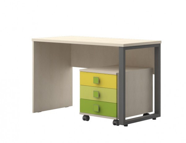 Schreibtisch mit Rollcontainer Ahorn/ Trio grün