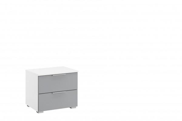 Nachttisch 47cm mit 2 Schubkästen alpinweiß/ seidengrau Hochglanz