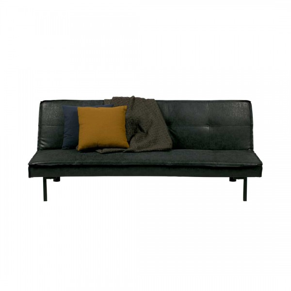 Sofa Bett 178x96cm Lederstoff dunkelgrau
