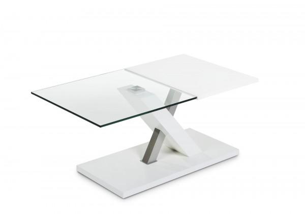 Couchtisch 105x60cm höhenverstellbar Glas/weiß Lack