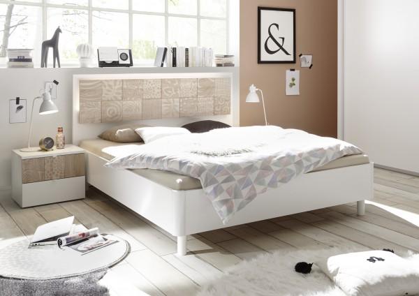 LC Spa Xaos Einzelbett Futonbett 180x200cm weiß matt/ Siebdruck Eiche Sonoma