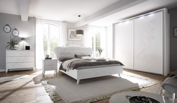 Schlafzimmer Set 4tlg. weiß Melamin geriffelt Siebdruck