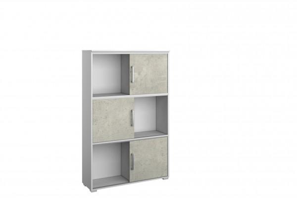 Schiebetür Regal 92cm alpinweiß oder grau metallic