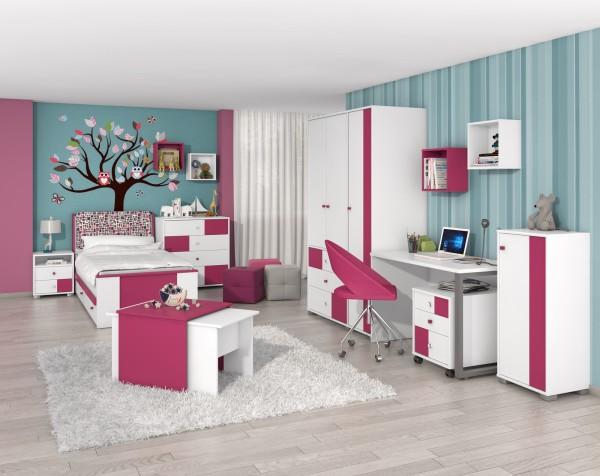 Mädchen Kinder-Jugendzimmer Kiki Play 5tlg. weiß/ Cyclamen