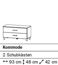 Kommode mit 2SK 93cm alpinweiß oder weiß HG