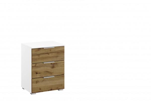 Nachttisch 47cm mit 3 Schubkästen alpinweiß/ Eiche Wotan