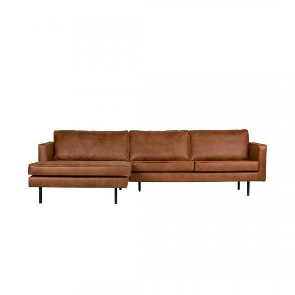 Sofa 3-Sitzer Eco Leder Cognac Chaiselongue links