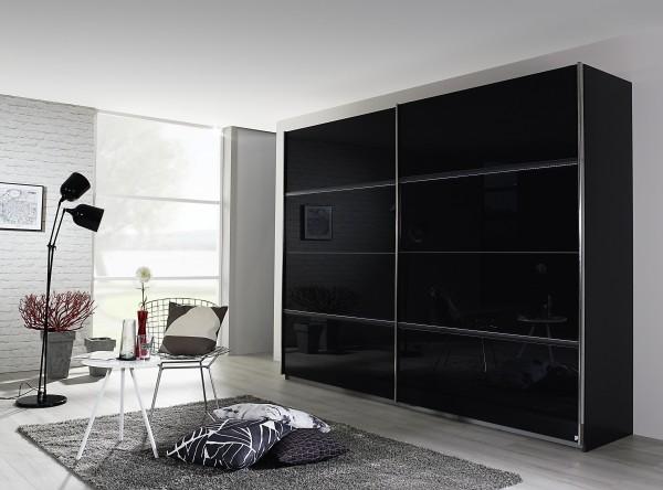Schwebetürenschrank mit Glas Front 226-270cm graumetallic/Glas Basalt