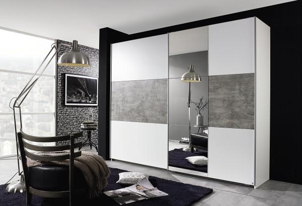 Schwebetürenschrank 261cm alpinweiß/stone grey
